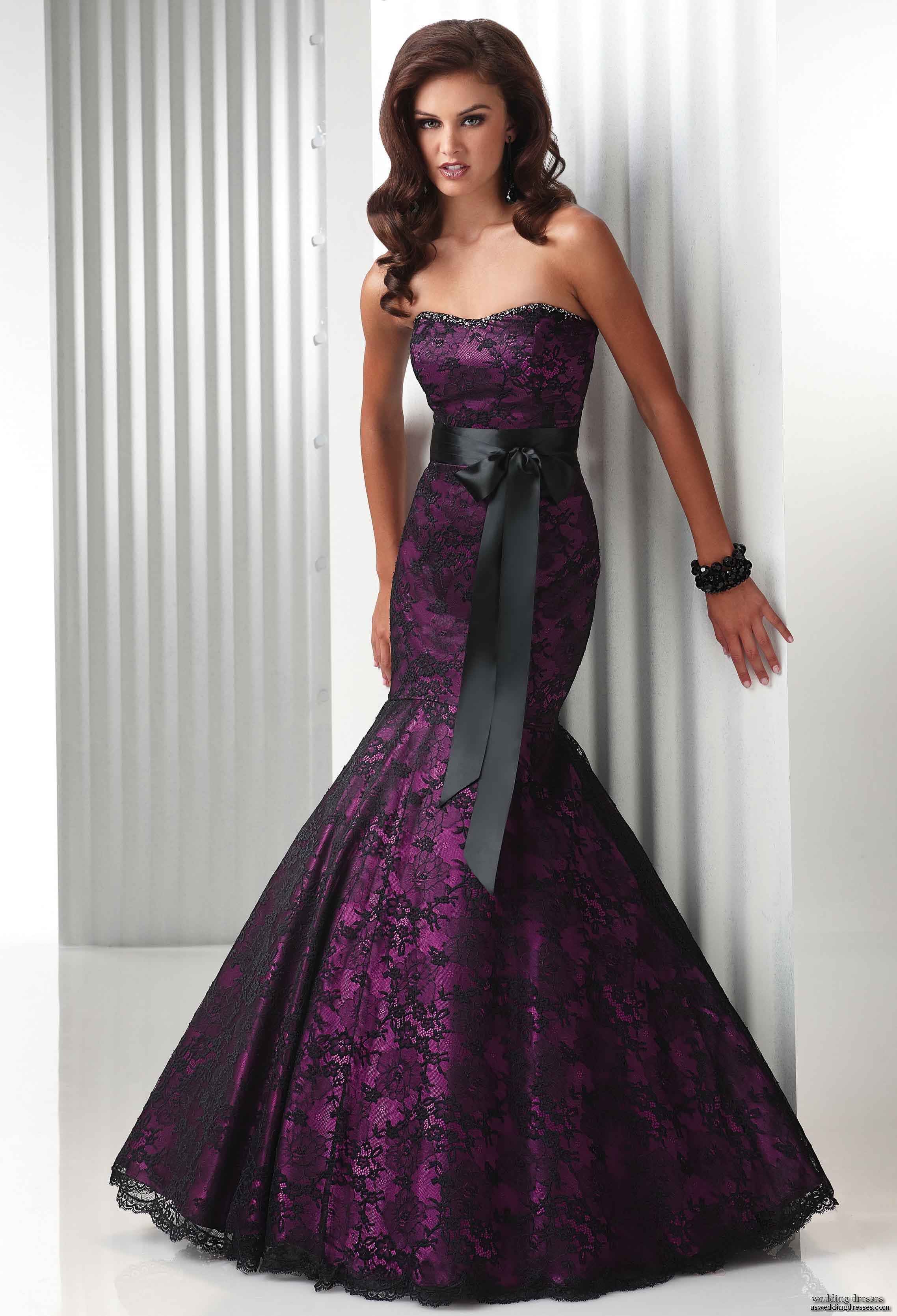 Purple Wedding Dresses For  : Sleeves purple and black gothic wedding dress heey fashion style