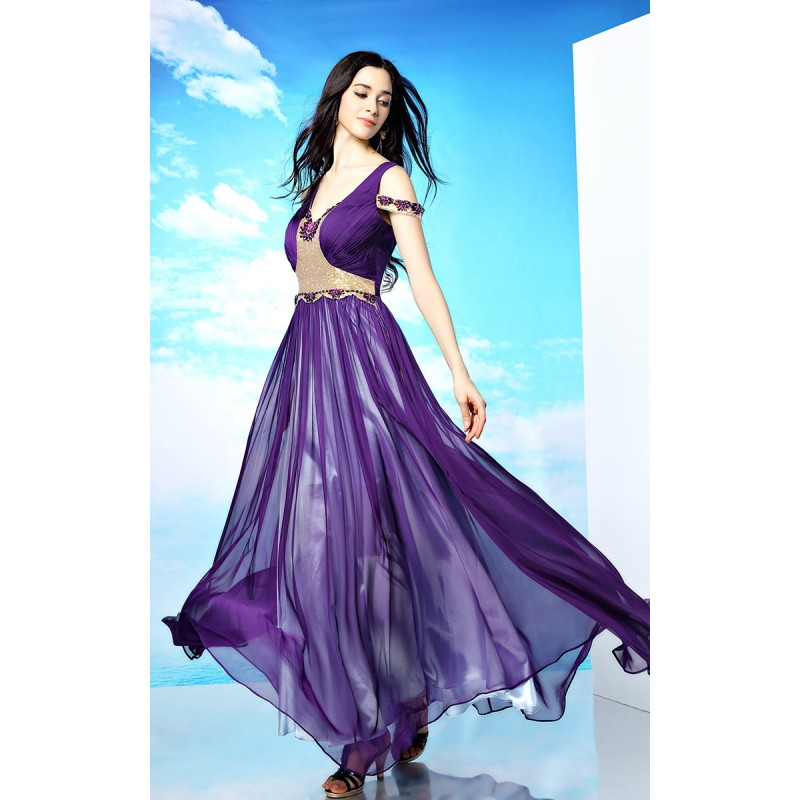 2015 Exotic Purple and Gold Jeweled Prom Dresses shd141