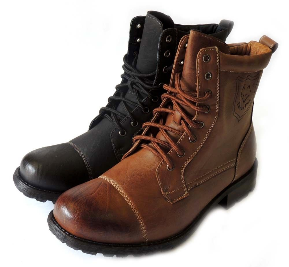 Fashion mens boots lace up motorcyle military combat boots heey