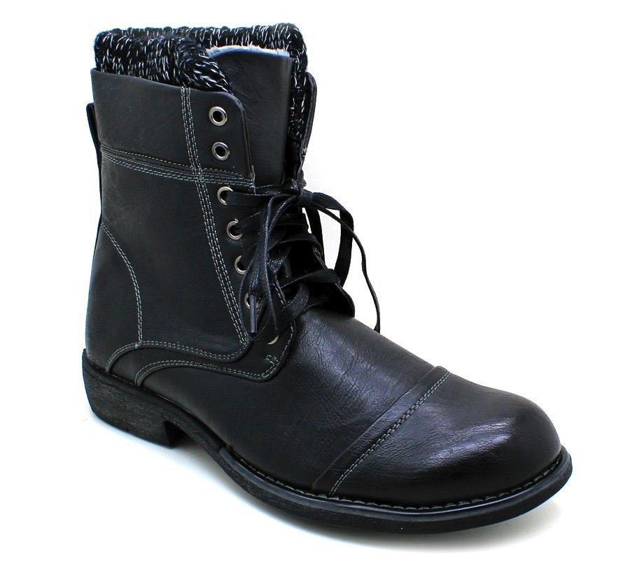New Men\'s Military High Ankle Combat Style Boots Winter Shoes