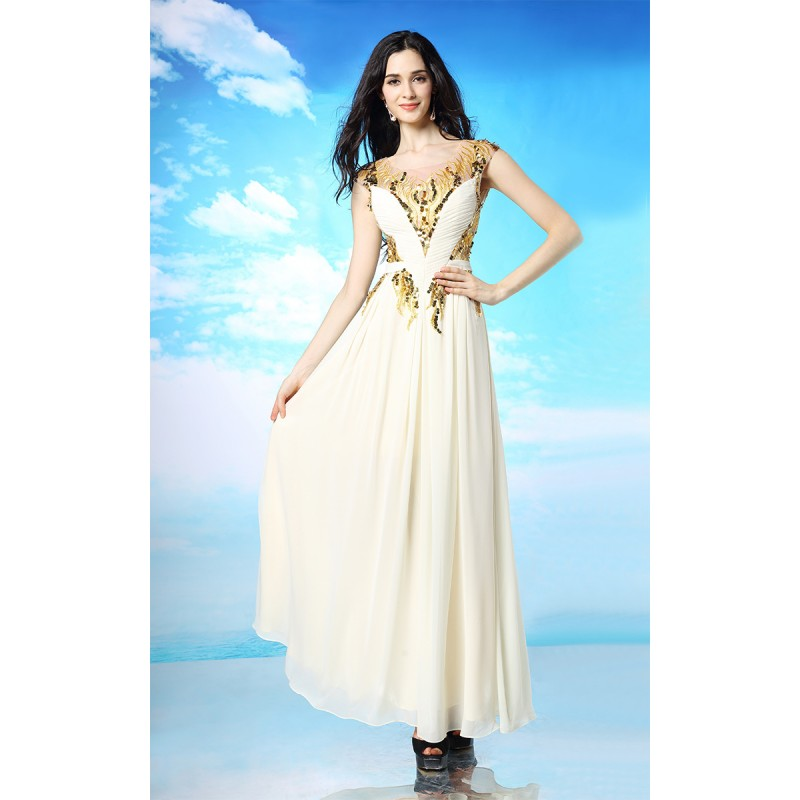 White and Gold Cap Sleeves Prom Dresses 2015 shd178