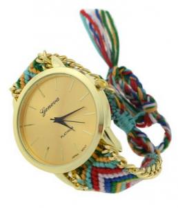 DIY Knitted Rope Band Quartz Movement Anolog Bracelet Wrist Watch Style