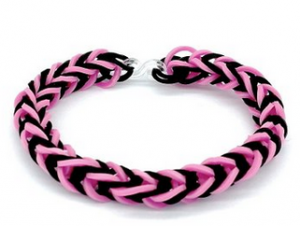 DIY Pink and Black Unisex Fishtail Loom Bracelet