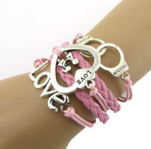 DIY Style Jewelry Leather Cute Infinity Charm Bracelet
