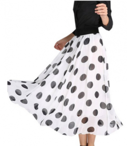Black and White Dot Chiffon Maxi Long Half Beach Skirt