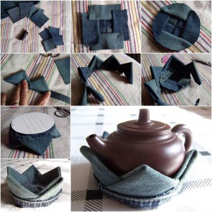 DIY-Lotus-Flower-Teapot-Coaster-from-Old-Jeans
