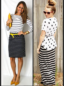 black and white polka stripes